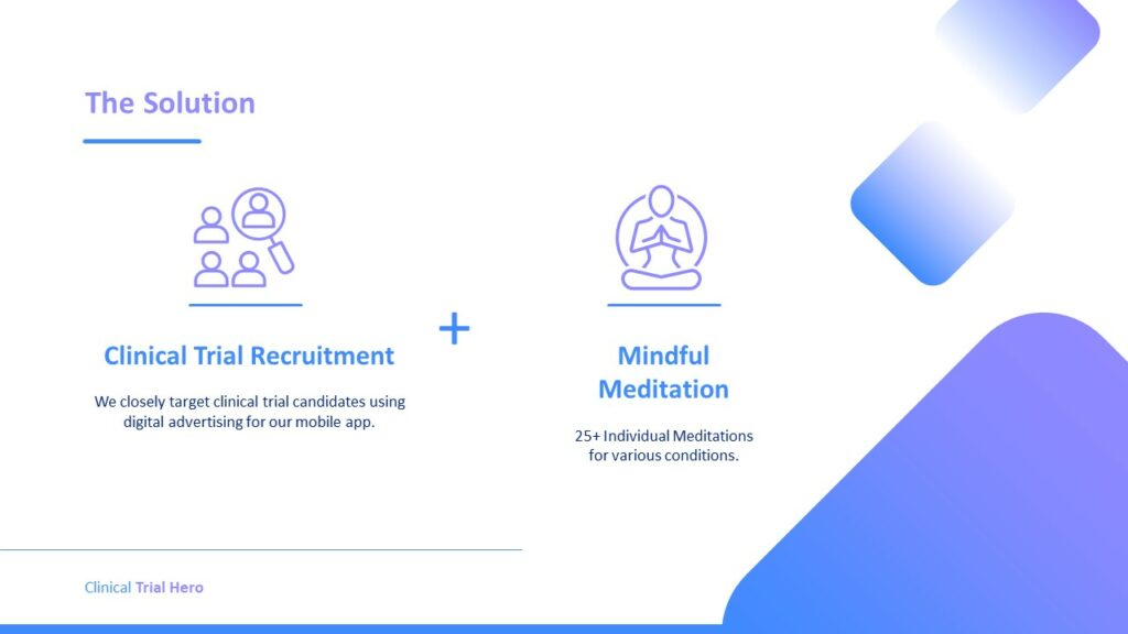 The solution. Clinical Trial Recruitment plus Mindful Meditation.